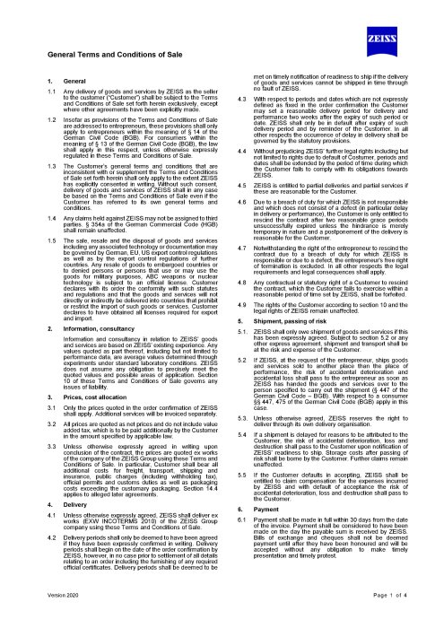 Preview image of General Terms and Conditions of Sale