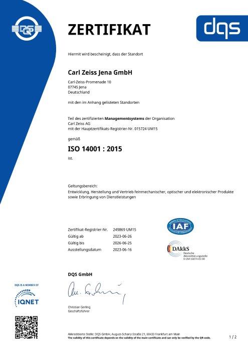 Umweltmanagementsystem Carl Zeiss Jena GmbH