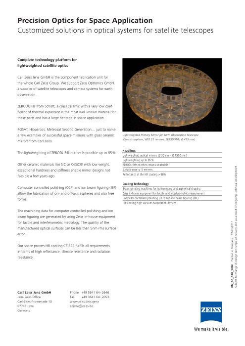 Hochleistungsoptik für Weltraumanwendungen